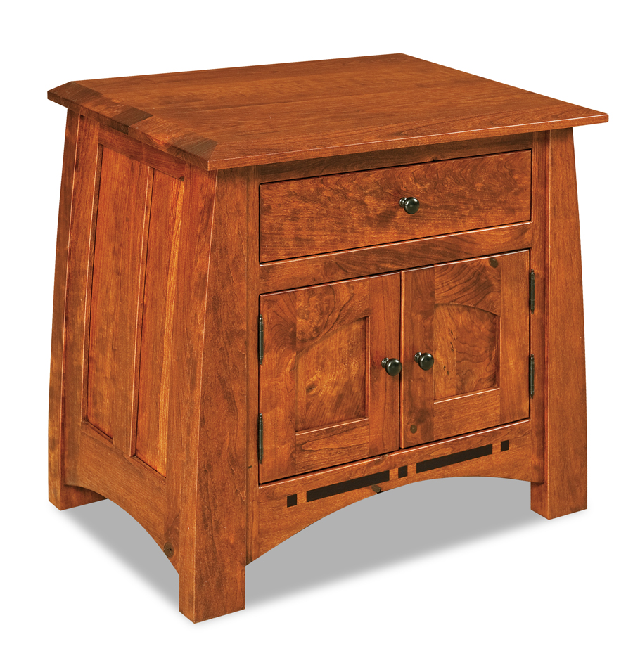 boulder creek 1 drawer 2 door short nightstand amish