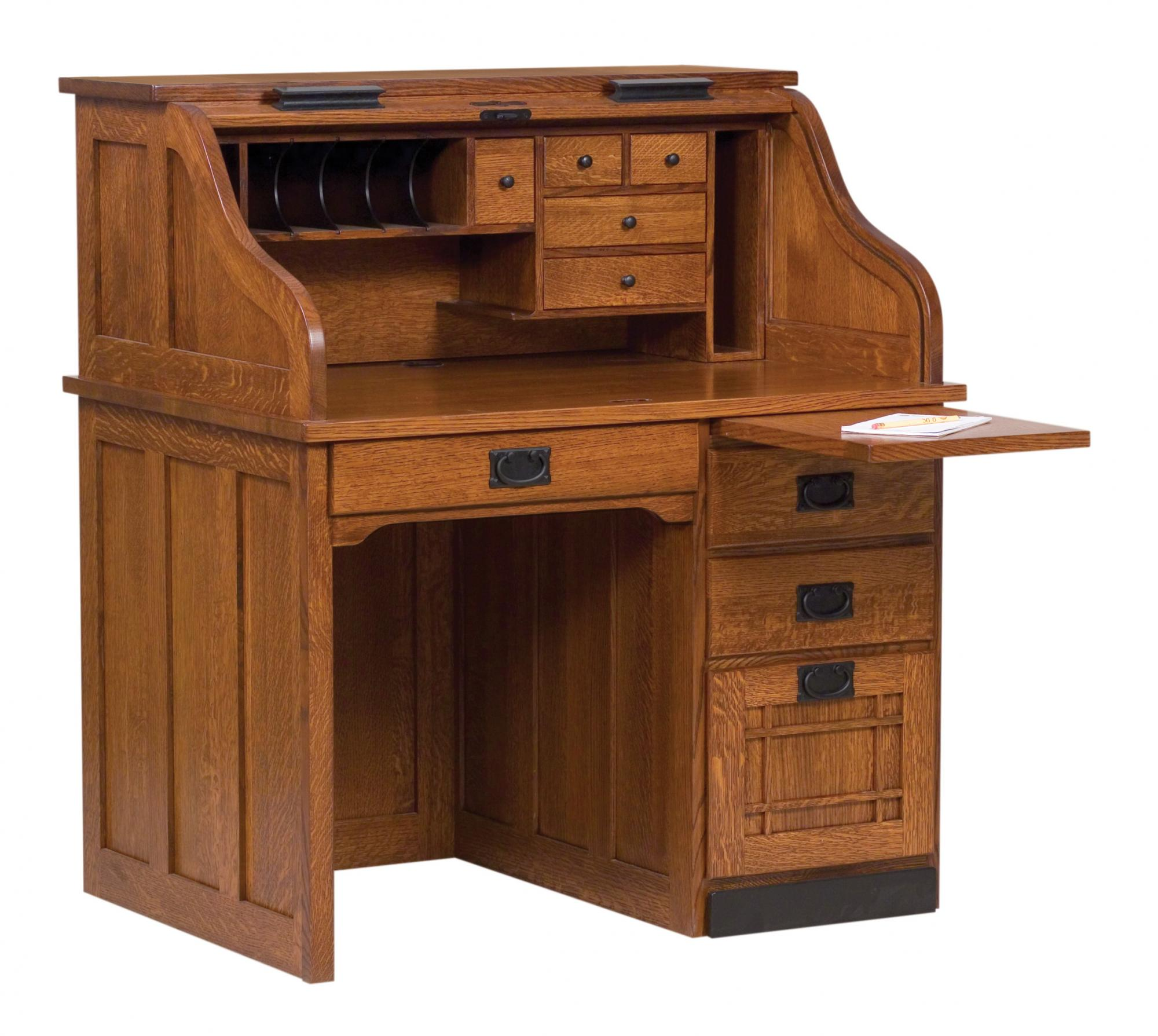 mission single pedestal roll top desk amish furniture store mankato mn. Black Bedroom Furniture Sets. Home Design Ideas