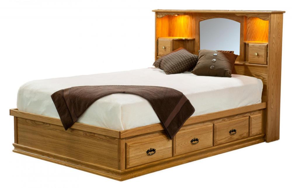 Traditional Captains Bed Amish Furniture Store Mankato MN